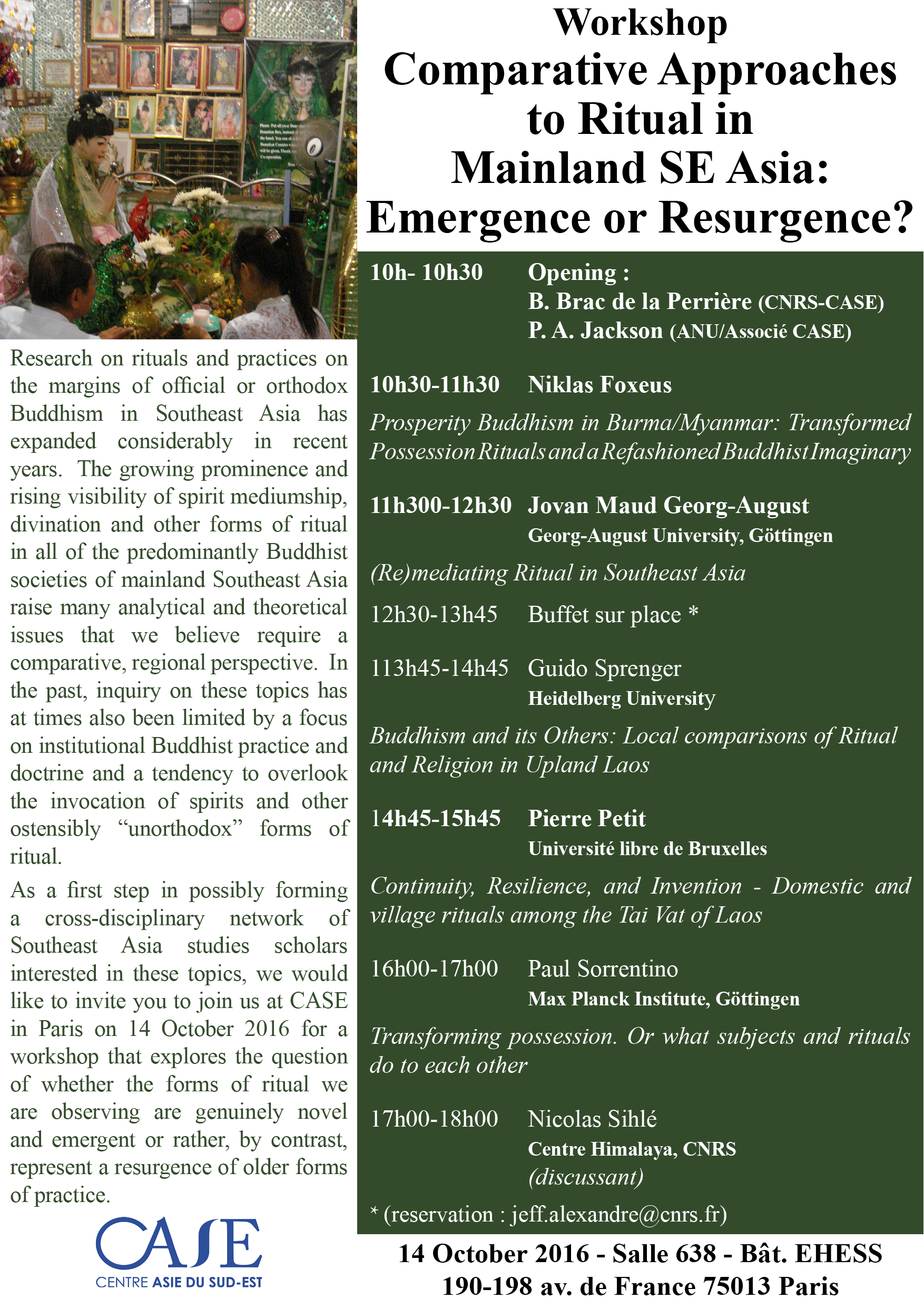 Workshop Comparative Approaches  to Ritual in  Mainland SE Asia:  Emergence or Resurgence?